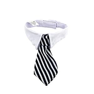 UEETEK Animaux chien chat cravates avec col blanc chiot réglable collier cravate pour accessoires de fête de mariage - taille L (rayures noires rouges)