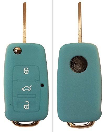 CK+ VW Auto-Schlüssel Hülle Key Cover Case Etui Silikon für Polo Golf Plus Passat Sharan Touran Scirocco Caddy Tiguan EOS - Leuchtend Blau