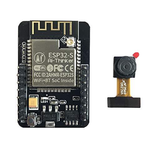 Module ESP32-CAM + module caméra, carte de développement durable faible consommation WiFi + module Bluetooth, panneau de développement, processeur 32 bits Dual Core double basse consommation(1set)