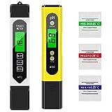 Tencoz Medidor de pH Digital, Medidor de TDS EC Temperatura pH 4 en 1, Kit de Prueba de Calidad del Agua 0-14pH 0-5000ppm para Piscina SPA Acuarios Agua Potable