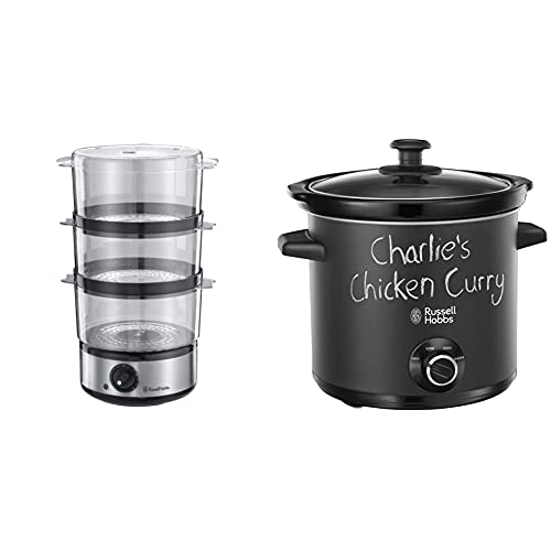 Russell Hobbs Food Collection Compact Food Steamer 14453, 7 L - Brushed Stainless Steel & 24180 Chalkboard Slow Cooker, 3.5 L, Black
