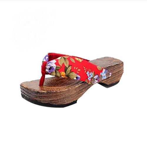 Btruely Hausschuhe Damen Sommer Plateauschuhe Damen Holz Sandalen Böhmen Sandalen Flip Flops (39, Rot)