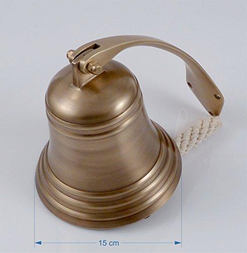 Schiffsglocke Messing antik, Wandhalter, Glockenstock, Glockenbändsel, Ø 15cm, ca. 1,5 kg, satter...