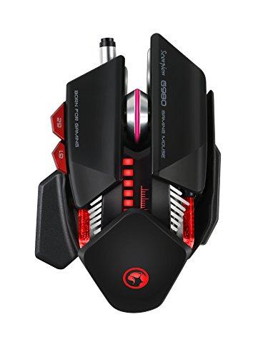 Marvo G980 BKGaming Maus 6-Tasten programmierbar | 6 DPI Einstellungen 1000-6000 DPI | Handballenauflage | 6 verschiedene Beleuchtungsfarben | PAN3325 Chip | USB