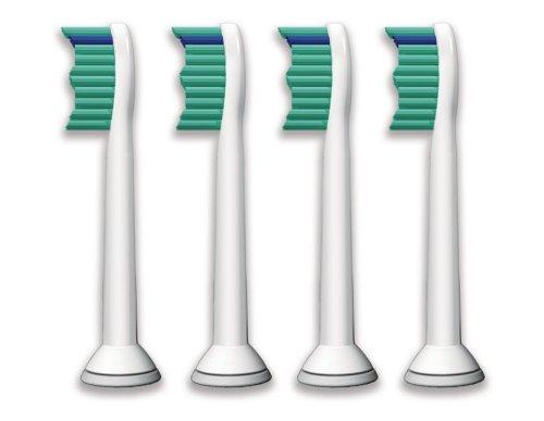 Philips Sonicare Ersatzbürsten Original ProResults HX6014/35 gelangen an schwer erreichbare Stellen & passen auf jede Sonicare Zahnbürste mit Aufsteck-System – 4er Pack, Standard, Weiß