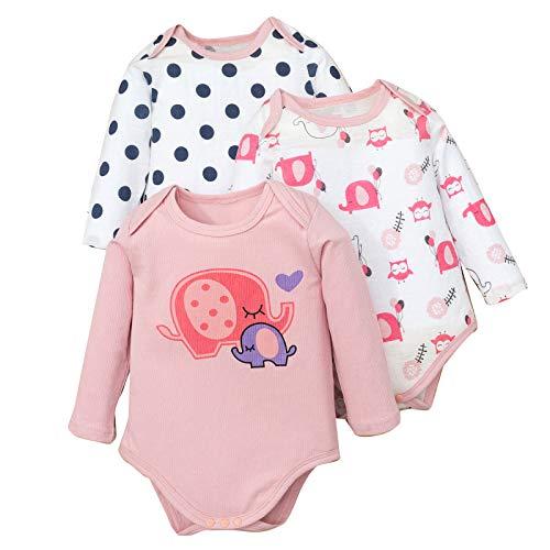 3 Piezas Bebé Niña Mono Mameluco de Manga Larga Estampado Patrón Mameluco Combinación Traje Colorido Bebé Recién Nacida Mameluco Body Peleles Pijama Regalo de Recien Nacido