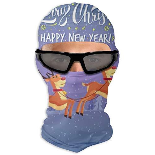 N/Een volledig gezichtsmasker Leuke Cartoon Kerstman Rijden Rendier Slee Vrolijke Kerstmis Hood Zonnebrandcrème Masker Dubbele Laag Koud Voor Mannen En Vrouwen
