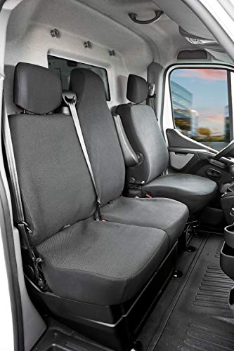 Walser 10500 Autoschonbezug Transporter Passform, Polyester Sitzbezug anthrazit kompatibel mit Opel Movano, Renault Master, Nissan Interstar, Einzel- & Doppelbank