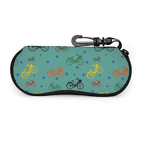 AOOEDM Gafas de sol Gafas Estuche blando de neopreno ultraligero Estuche para anteojos con cremallera y clip para cinturón, patrón de bicicleta