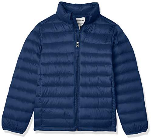 Amazon Essentials Boys' Lightweight Water-Resistant Packable Puffer Jacket Chaqueta, Azul (Navy), Medium