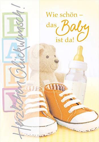 Karte zur Geburt Basic Classic - Karte zur Geburt, Schuhe - 11,6 x 16,6 cm