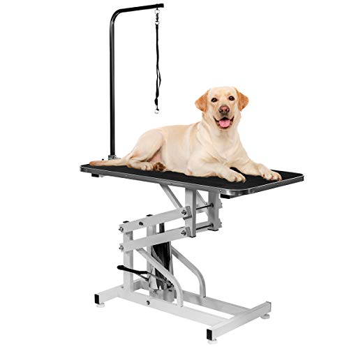 XtremepowerUS Professional Hydraulic Pet Dog Grooming Table Non-Slip Drying Table with Adjustable Arm and Noose