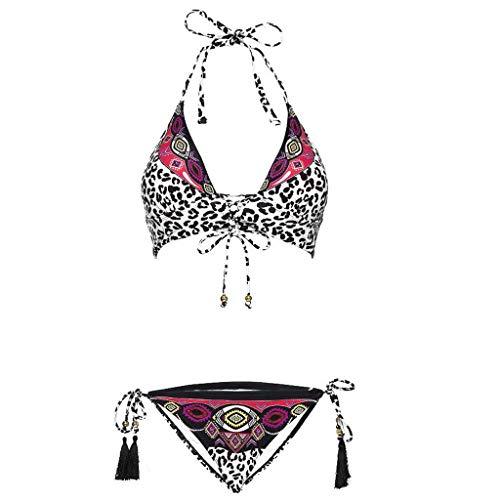 NPRADLA 2018 Bikini Damen Set Leopardenmuster Bandage Set brasilianischen Bade Beachwear Badeanzug(Weiß,S)