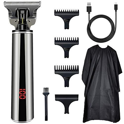 Rasierer Haarschneidemaschine, Profi 0mm Haartrimmer Herren mit USB, Haarschneider Herren Elektrischer Pro Li T-Klingenschneider für Männer mit LCD-Indicator und Haarschneideumhang