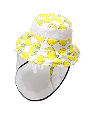 AQ1 Baby mütze Sonnenschutz Frühling und Sommer Kinder Sonnenhut Fischerhut dünn-50cm_Eine Größe_Mesh Kappe Zitrone + Anti-Spray-Maske