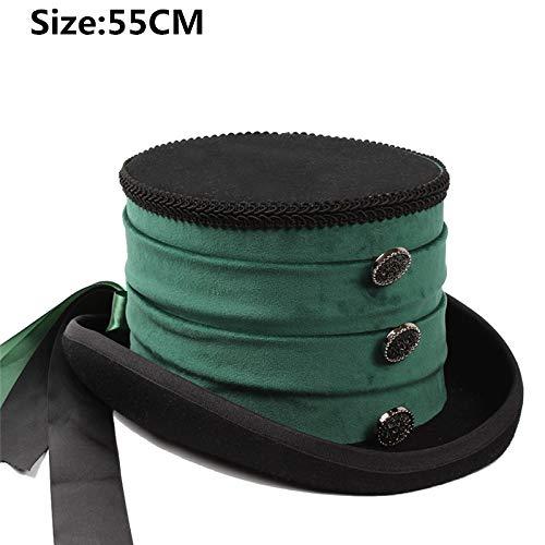 YQXR Moda Sombreros Sombrero de la Boda del Partido del Castor Nuevo el 13.5CM Hecho a Mano 4 Tamaño Negro Lana Mujeres Steampunk Fedora del Sombrero de Copa for la señora de Steampunk Tradicional