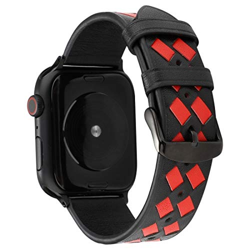 aizhinuo Uhrenarmbanduhrband für Apple Watch Serie 5 & 4 44mm / 3 & 2 & 1 42mm Gewebtes Muster Echtes Lederarmband für...