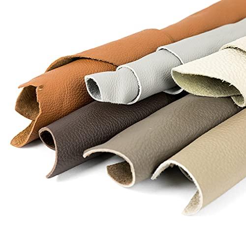 P17 | 1 kg de cortes de auténtica piel italiana en tamaños aleatorios y colores mixtos clásicos - Camines con diferentes formas de producción artesanal, surtidos, piezas de cuero