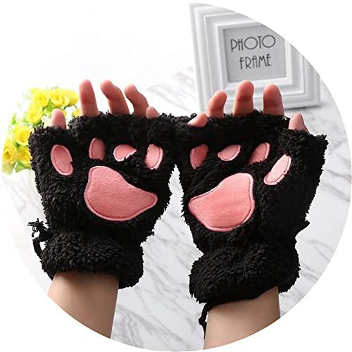 2 Paar Frauen Mädchen Schöne Winter Warme Fingerlose Handschuhe Flauschige Bär Katze Plüsch Pfote Klaue Halbe Finger Handschuhe Mitten-Black-One Size