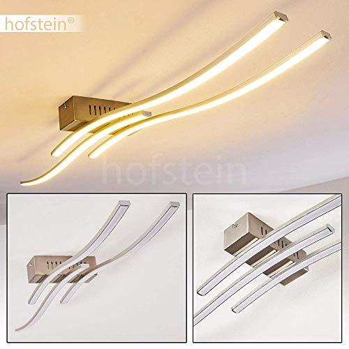 LED plafondlamp Berken, langwerpige plafondlamp in mat nikkel met 3 gebogen lichtlijsten, 24 Watt, 1200 Lumen, lichtkleur 3000 Kelvin (warm wit)