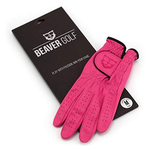 BEAVER GOLF Damen Golf Handschuh Glove pink - Grip-Patch, Cabretta-Leder - maximale Qualität - Handarbeit (S, Rechts (Linkshänder))