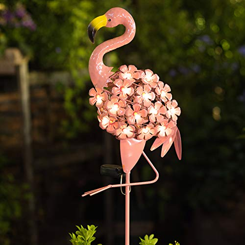 Homeimpro Garden Solar Lights,Flamingo Pathway Outdoor Stake Metal Lights,Waterproof Warm White LED for Lawn,Patio or Courtyard
