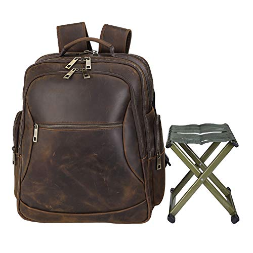 Polare Full Grain Leather Multi-Functional Backpack Stool Combo - Durable Backpack and Portable Folding Cooler Chair Perfect for Camping Fishing Hiking and Outdoor Activities