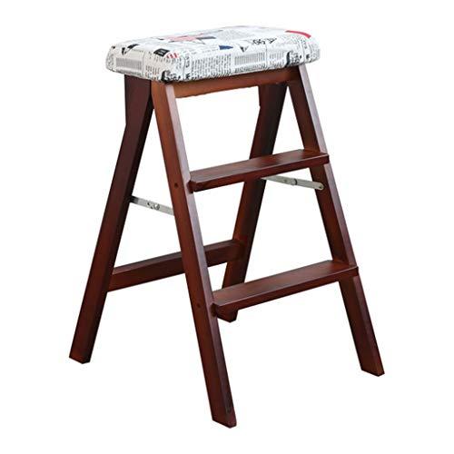 Xing Hua home Hocker Tritthocker Klapphocker Massivholzleiter Kletterhocker Küchen Klapphocker Multifunktions-Kreativleiter Einfacher Steighocker Hocker (Color : Brown, Size : 42 * 48 * 63cm)