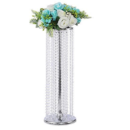 Lanlong Centre de table de mariage 90 cm de haut, support de fleurs, décoration de Noël, décoration du salon, Métal, Argenté., 70 cm