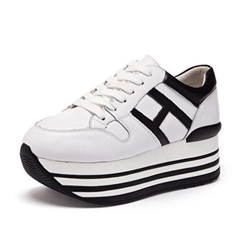 Sneakers da Donna con Plateau 6 cm Moda Tinta Unita Impermeabile in Pelle Cucita con Lacci Scarpe Basse Bianche Casual da Donna con Punta Arrotondata