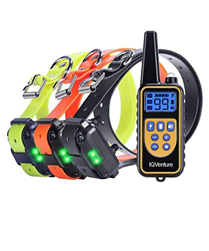 IQVenture Dog Training Collar,Long Range 2600ft Rechargeable Shock Collar,100% Waterproof Dog Shock Collar with Remote and 4 Training Modes, Beep, Vibration, LED Light and Shock,0~99 Shock Levels