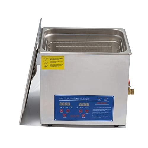 15L/3.9gallon Ultrasonic Cleaner 304 Stainless Steel with Digital Timer&Heater,360W Ultrasonic Power for Lab Instrument Auto Parts Injector Metal Articles Gun Parts 40KHz 110V US Plug