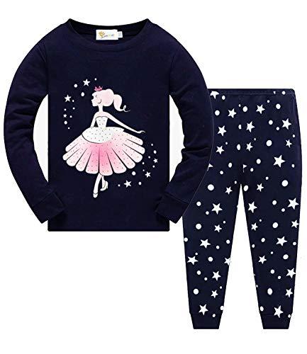 Little Hand Schlafanzug Mädchen Lang Einhorn Kinder Zweiteiliger Baumwolle Ärmel Nachtwäsche T-Shirt und Hose 92 98 104 110 116 122 (110, Prinzessin)