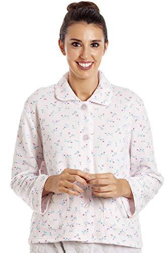 CAMILLE Damen Floral Button Mock Quilt Bett Jacke 42/44 PINK