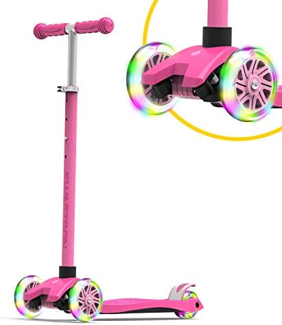 Swagtron K5 3 Wheel Kids Scooter with Light Up Wheels Quick Assembly ASTM Certified Height Adjustable product image