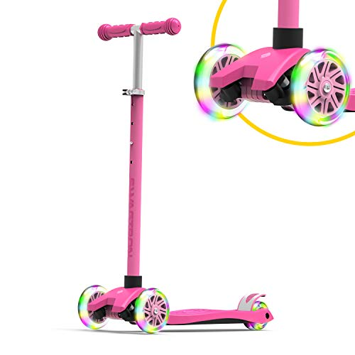 Swagtron K5 3Wheel Kids Scooter with LightUp Wheels | Quick Assembly | ASTMCertified | HeightAdjustable for Boys or Girls Ages 3 Pink