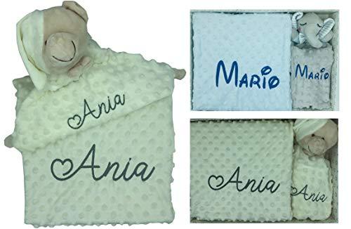 Set de Manta + Dou dou Personalizado con nombre bordado Oso Beige Baby Shower - mibebestore