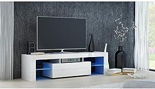 طاولة تلفاز برفين زجاجيين وادراج مزودة بمصابيح ليد، مقاس 35 × 45 × 120 سم بلون ابيض