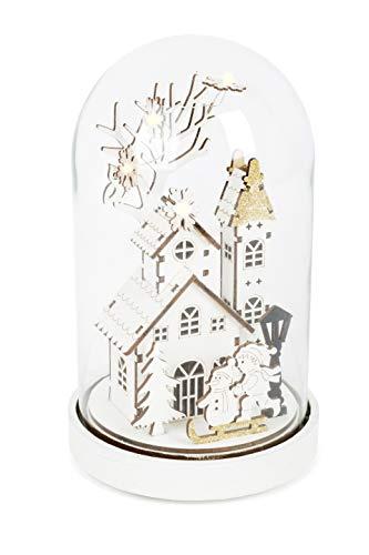 Small Foot Luminosa Magica in Stile Illuminazione a LED. Un Villaggio Invernale Ben Lavorato Posto sotto Una Campana di Vetro con Base in Legno, Decorazione Natalizia, Bianco