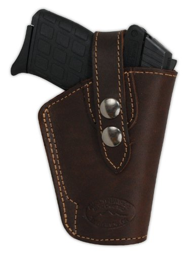 Barsony Brown Leather Belt Clip Holster for Small Frame .380...