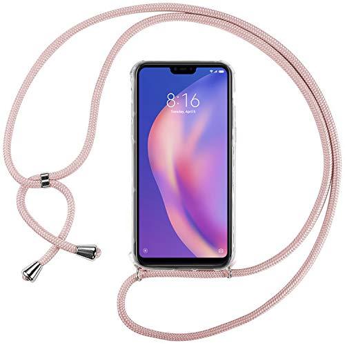 Ingen Funda con Cuerda para Xiaomi Mi 8 Lite - Carcasa Transparente TPU Suave Silicona Case con Colgante - Rosa
