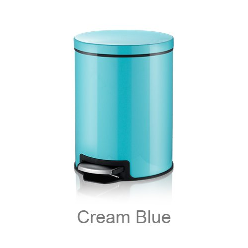 Generic Mr. Poubelle Macaron Plus Poubelle en acier inoxydable Pédale de presse Poubelle Home Office Poubelle Wb-fp002 Crème 5L Bleu, Cream Blue, Standard