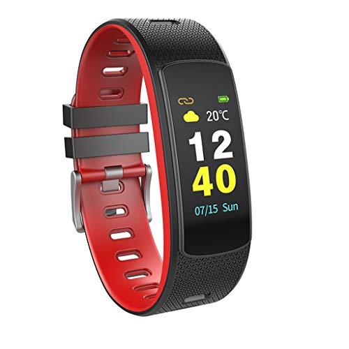 Fitness Smart Watch, I6 HR C Smart-Armband Herzfrequenz-Tracker Sport Smart-Armband-Farb-LCD Band Fitness-Monitor Tracker I6HRC Armband Uhr,Rot