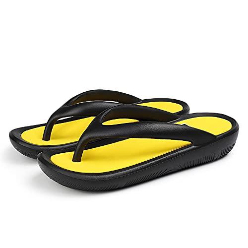 NISHIWOD Ciabatte Infradito Pantofola Sandali Infradito da Donna Nuove Pantofole Esterne Scarpe Morbide Casual Pantofole con Fondo Spesso Semplice Infradito Beach Flat 9.5 Nerogiallo Black