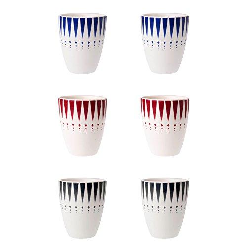 Depot d'argonne Arlequin Motif Mix 6 Mugs, céramique, Bleu/Rouge/Gris, 7.5 x 7.5 x 9 cm
