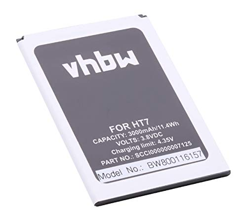 vhbw Li-Ion batteria 3000mAh (3.8V) per cellulari e smartphone HomTom HT7, HT7 Pro