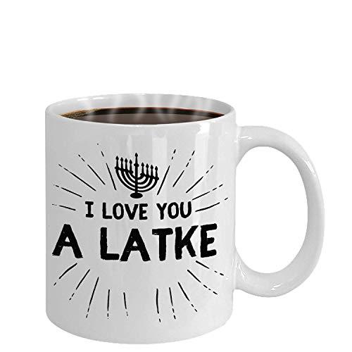 Funny Hanukkah Coffee Mug- Ceramic Menorah Tea Cup - Jewish Holiday Pun Humor Chanukah Kitchen Decor- I Love You A Latke