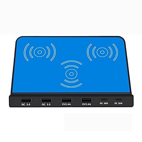 JUSTGJS 120w Cargador USB Dual PD Qc3.0 Cargador Fast 6 Puertos Adaptador USB 10w Cargador De Carga Rápida Rápida, para iPhone 12/11 Series/XS MAX/XR/XS/X / 8/8 Plus/Samsung