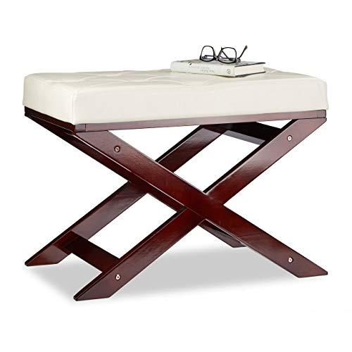 Relaxdays Sitzbank mit Polster ohne Lehne, aus Holz und Kunstleder, Einsitzer, HxBxT 48 x 64 x 40, weiß