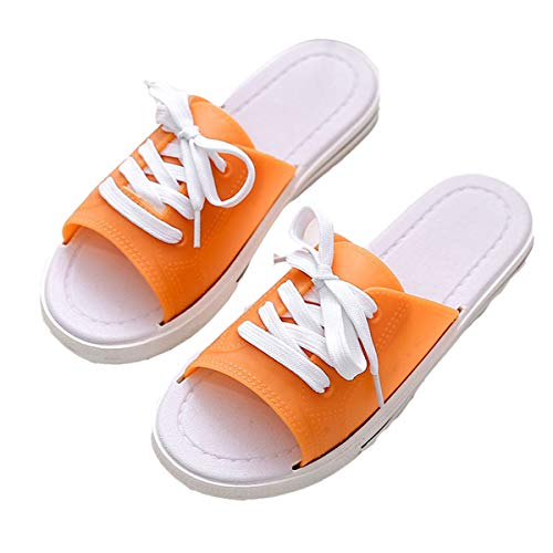YELAN Zapatillas de playa casuales para mujer de primavera y verano, sandalias y zapatillas de lona antideslizantes de moda para interiores (35/36, Orange, numeric_35)